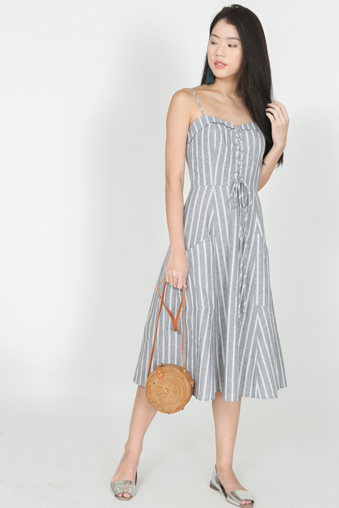 Pinstripes Cami Dress in Grey