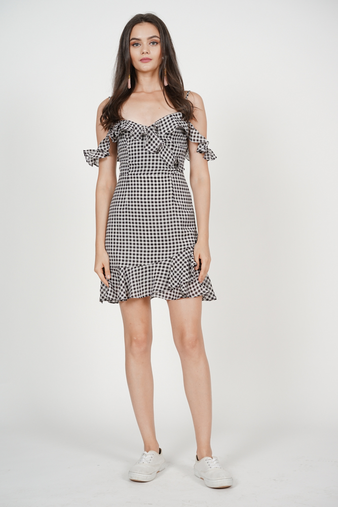 Frill Cami Dress in Black Gingham