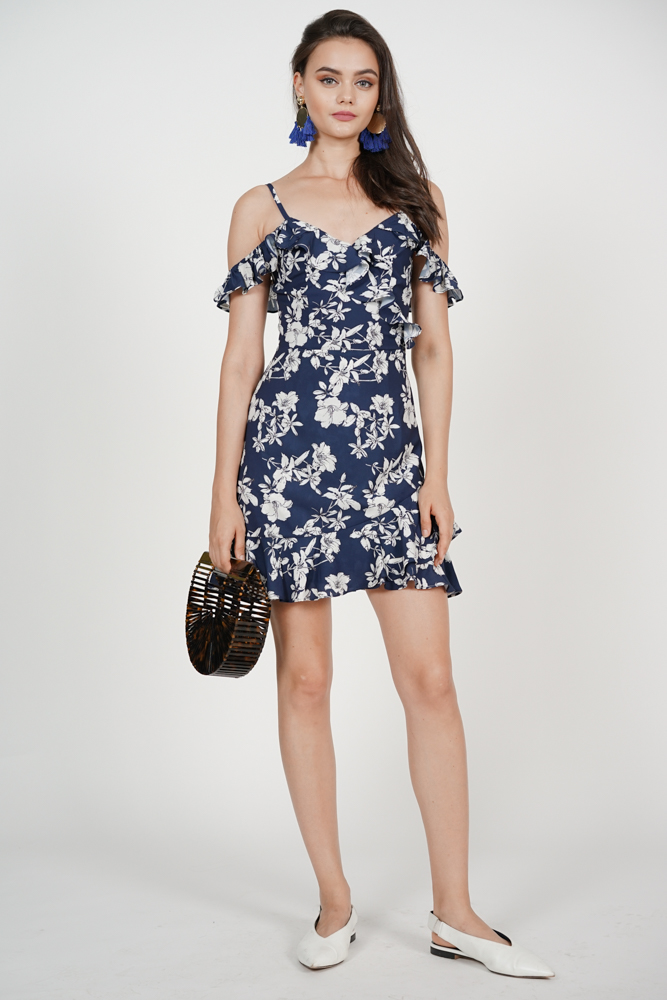 Frill Cami Dress in Navy Cream Floral