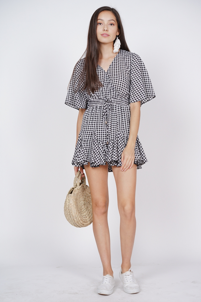 Drawstring Ruffle Romper in Checks