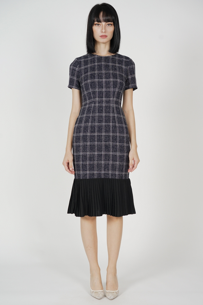 Two-Tone Dress in Black Checks - Arriving Soon