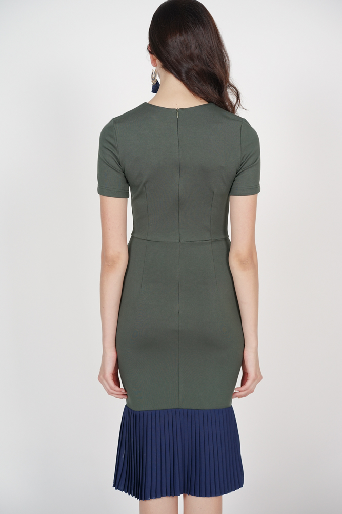 Two-Tone Dress in Olive