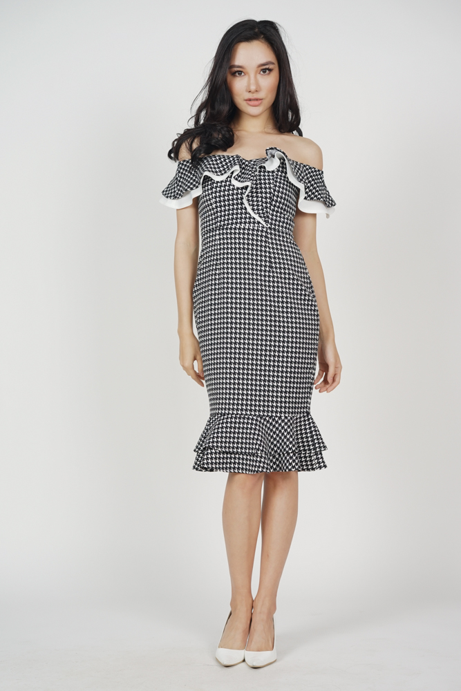 Flounce Mermaid Dress in Black Houndstooth