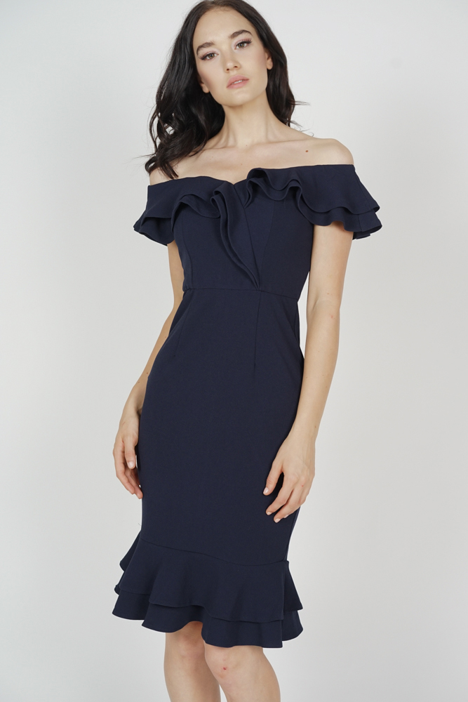 Flounce Mermaid Dress in Navy - Arriving Soon