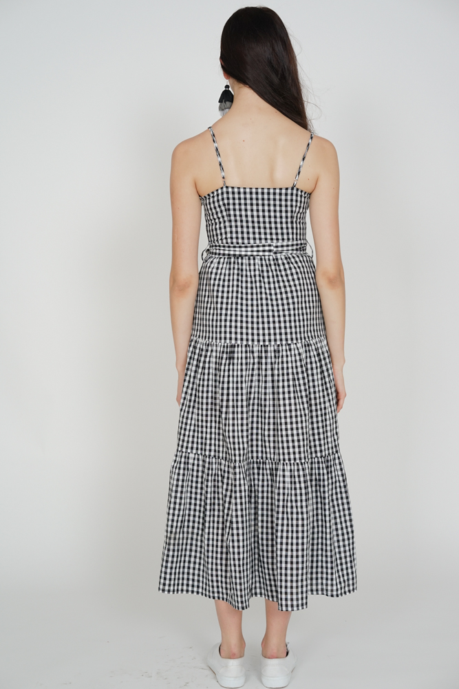 Gathered Maxi Dress in Black Gingham