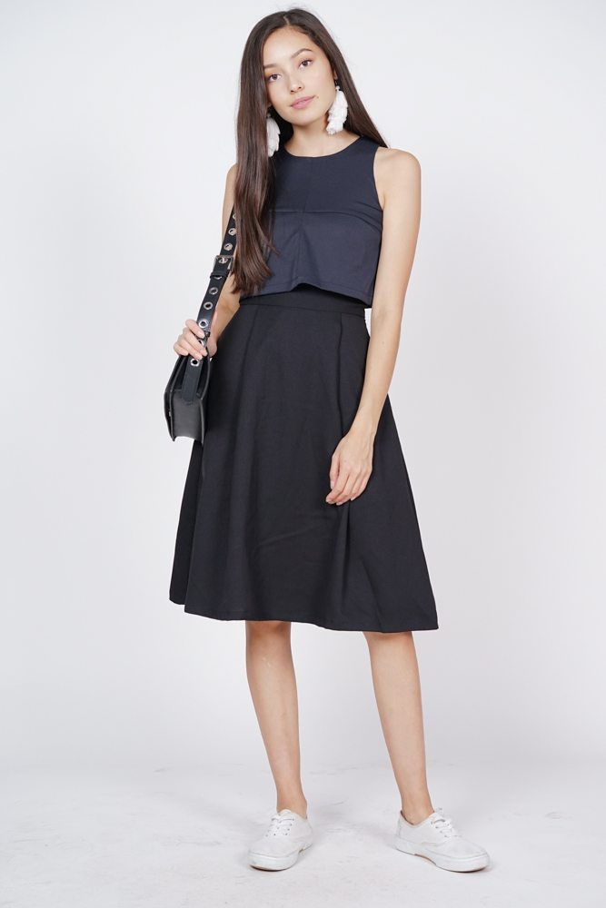 Contrast Overlay Dress in Navy