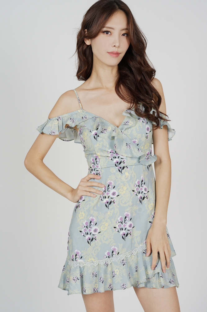 Frill Cami Dress in Mint Floral