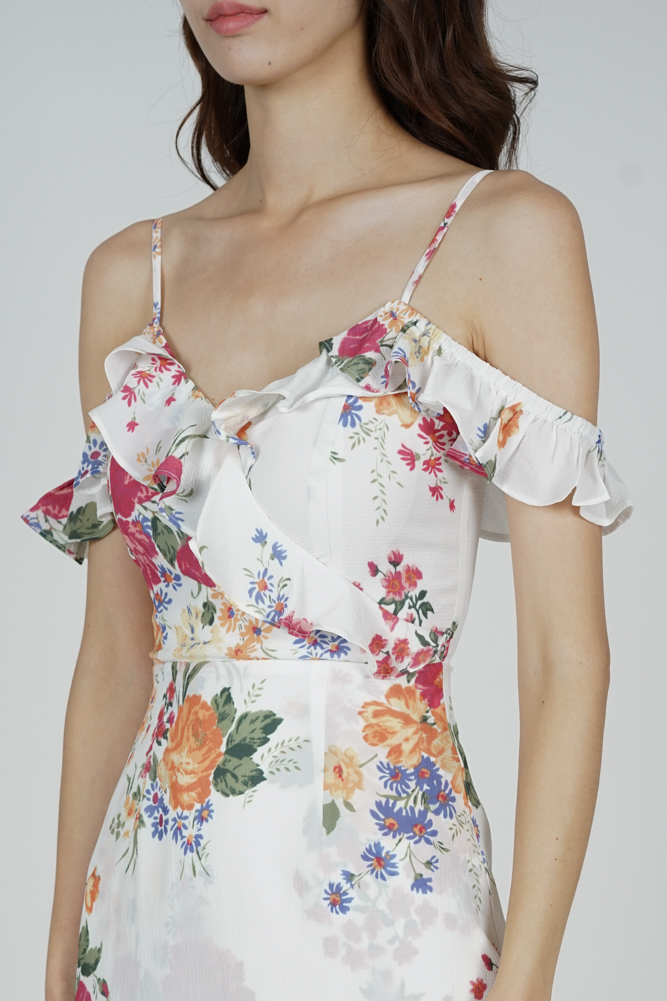 Frill Cami Dress in White Floral - Arriving Soon