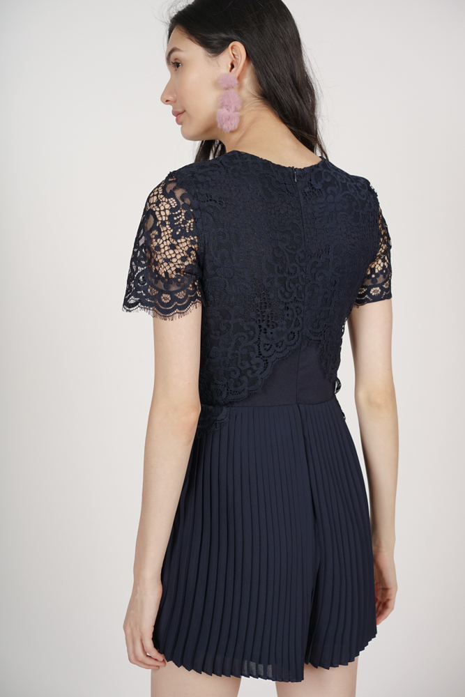 Pleated Lace Romper in Midnight - Arriving Soon