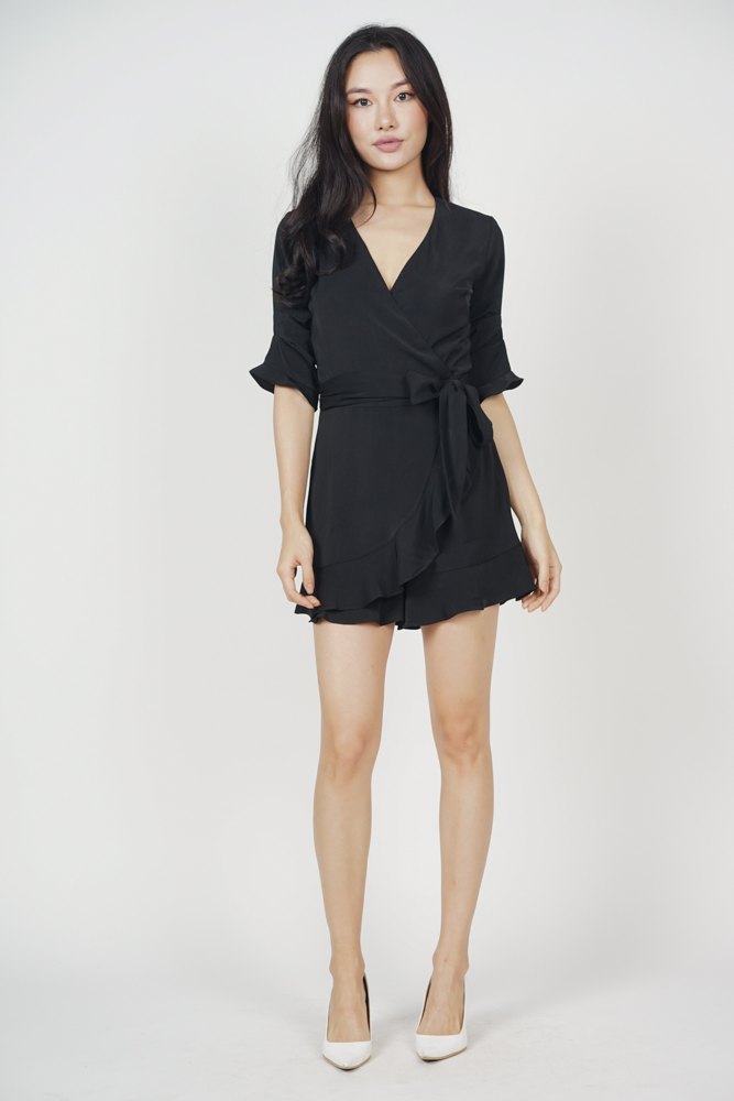 Nolana Ruffle Romper in Black