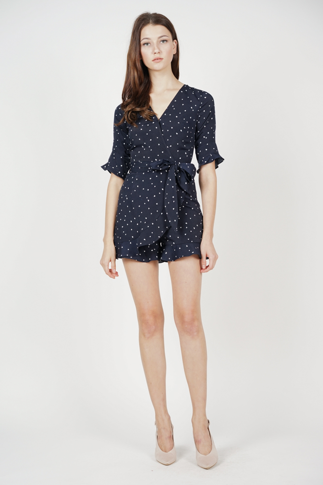 Nolana Ruffle Romper in Midnight Hearts