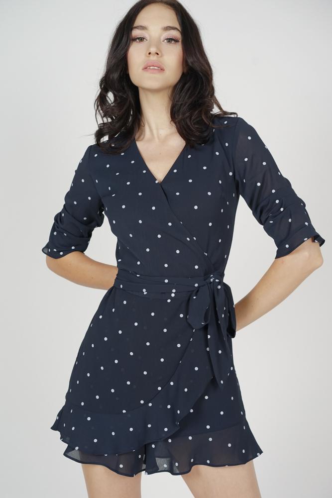 reasonably priced incredible prices top-rated official Nolana Ruffle Romper in Navy Polka Dots