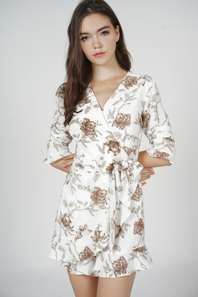 Nolana Ruffle Romper in White Brown Floral