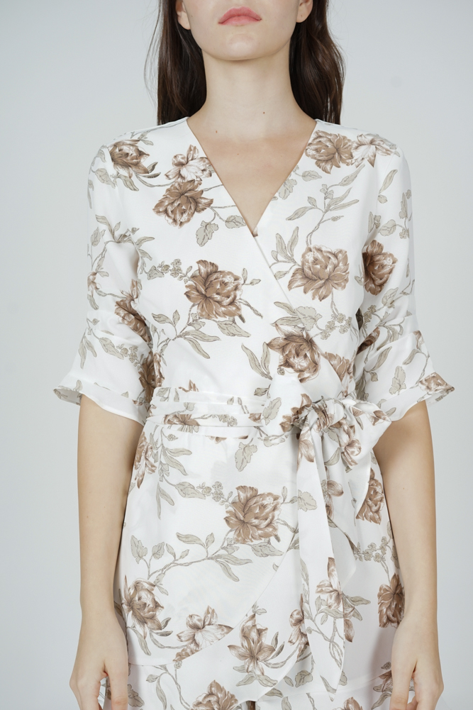 Nolana Ruffle Romper in White Brown Floral - Arriving Soon