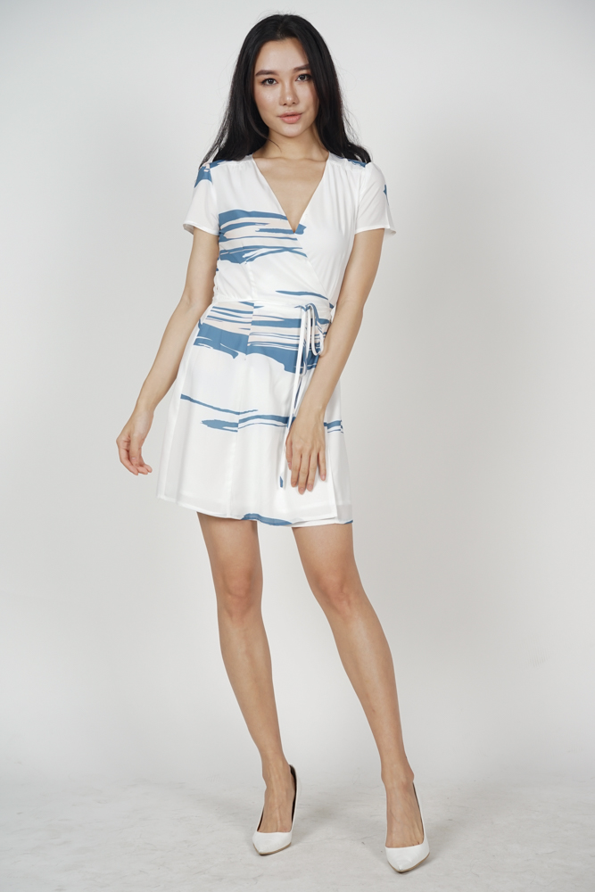Tie Wrapped Dress in Abstract