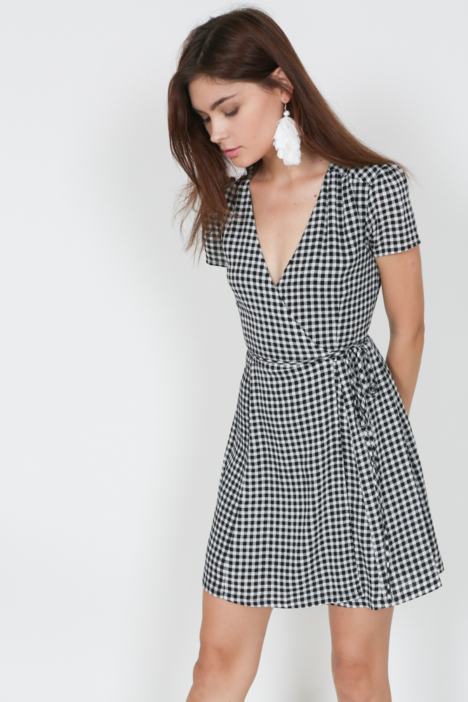 Tie Wrapped Dress in Black Gingham