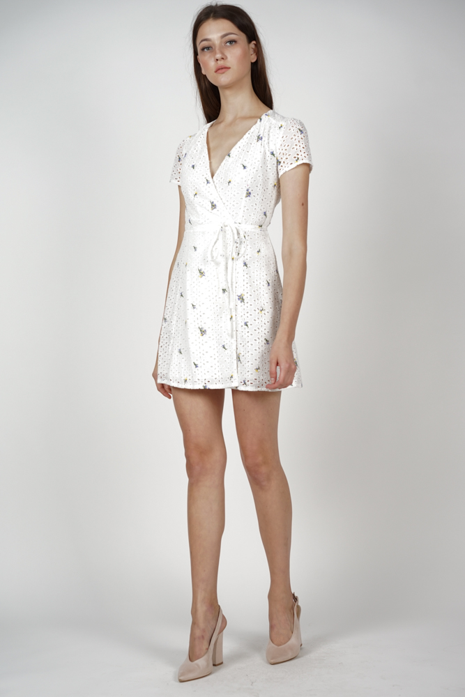 Tie Wrapped Dress in Floral Eyelet - Arriving Soon