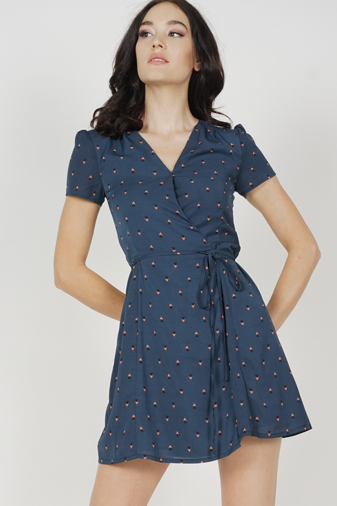 Tie Wrapped Dress in Navy Triangles - Arriving Soon