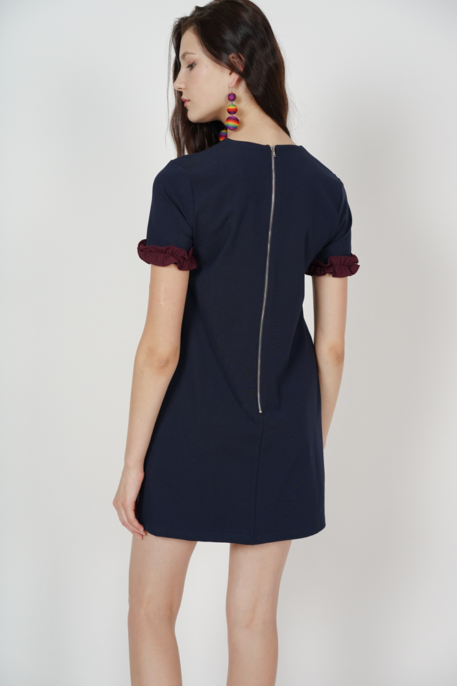 Contrast Shift Dress in Midnight