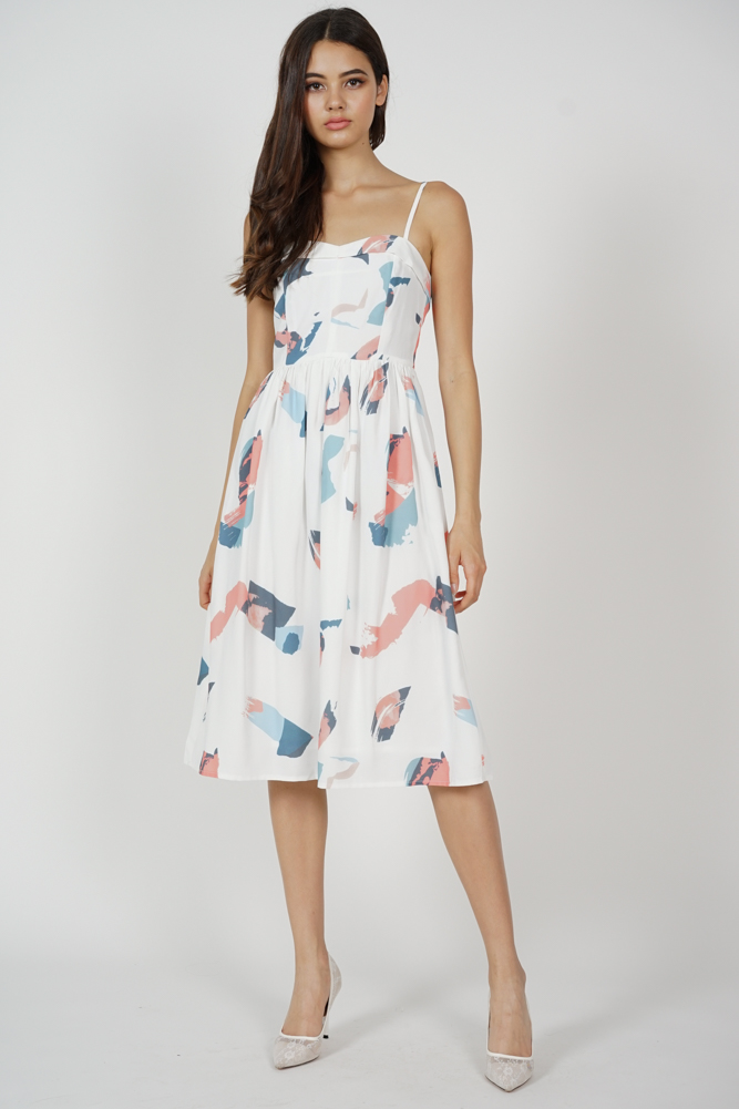 Trollius Flap Dress in White Brush