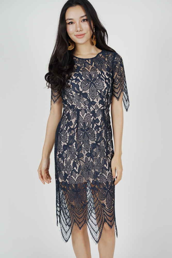 Peekaboo Lace Dress in Midnight