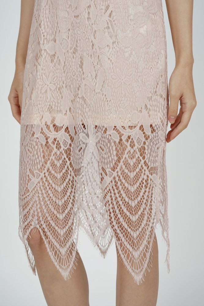 Peekaboo Lace Dress in Pink