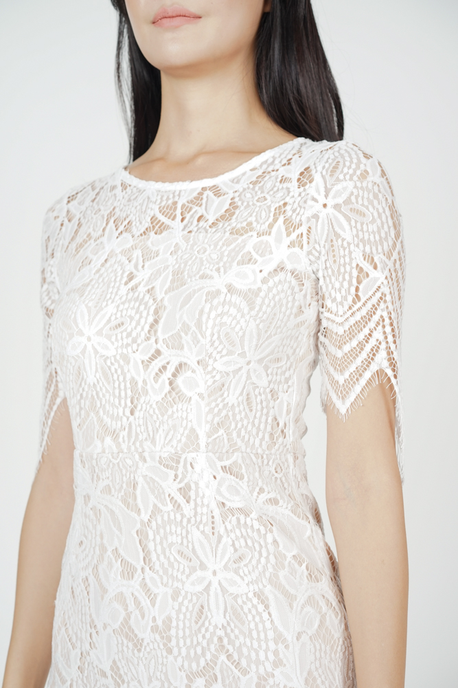 Peekaboo Lace Dress in White - Arriving Soon