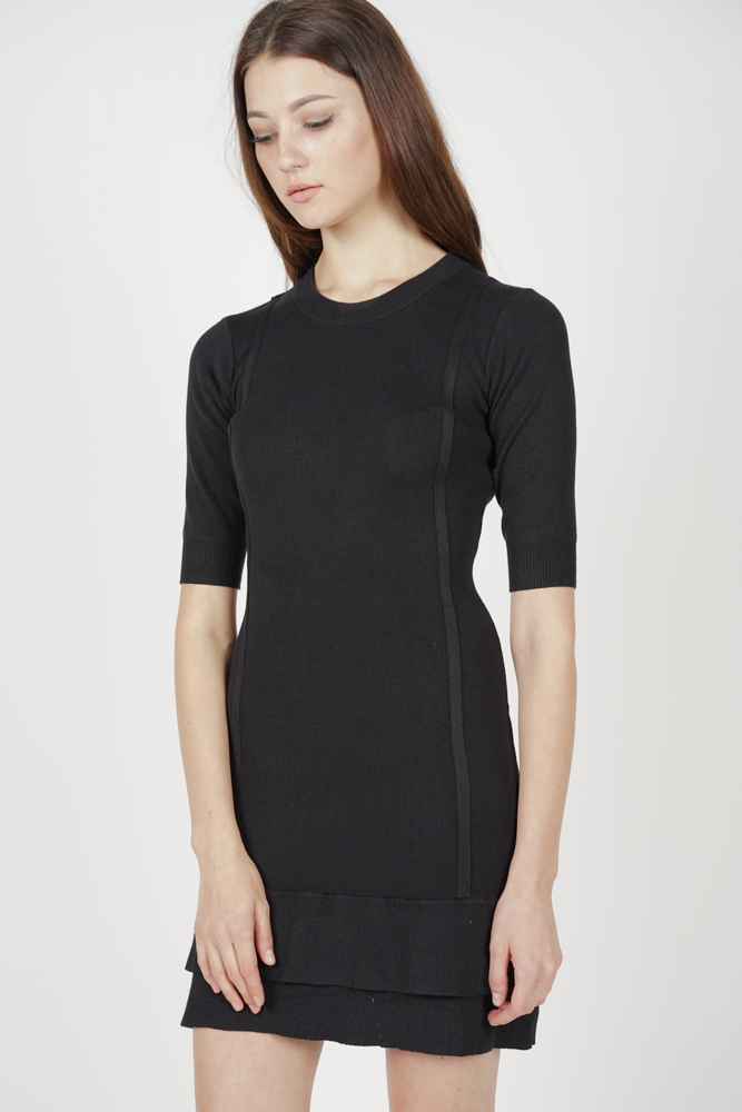 Ruffled-Hem Knit Dress in Black