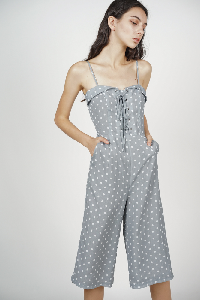 Flap-Over Lace-Up Jumpsuit in Grey Polka Dots