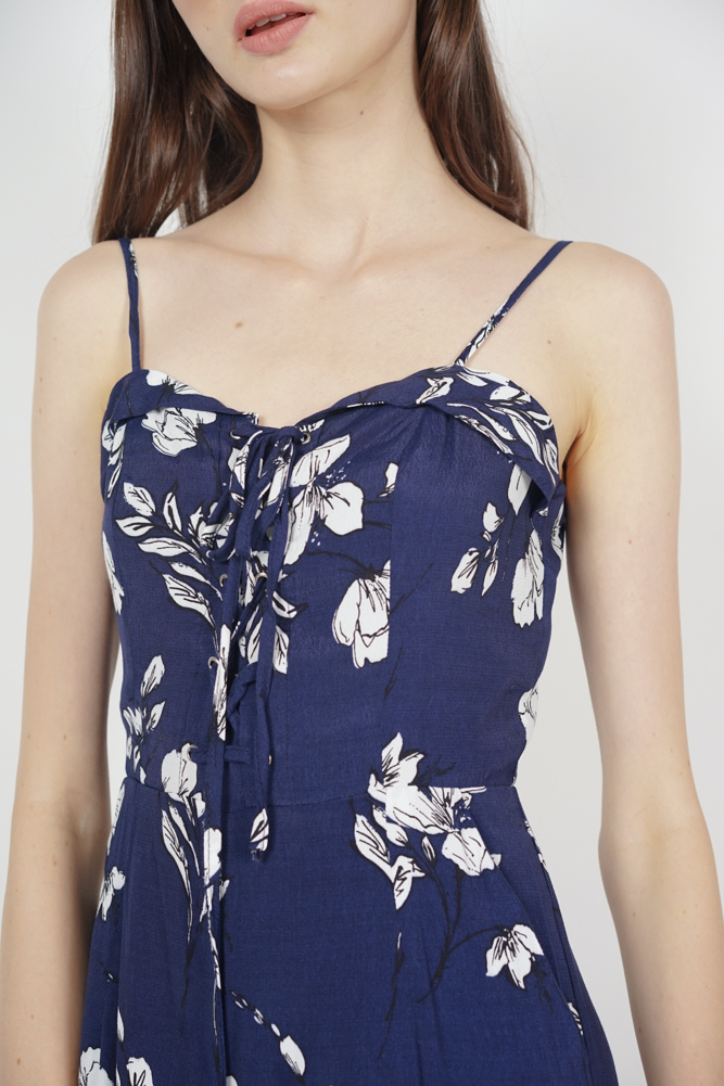 90a3be865f64 ... Flap-Over Lace-Up Jumpsuit in Navy Floral ...