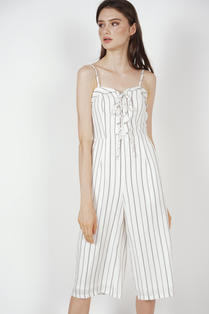 e245f67f91 MDS. Flap-Over Lace-Up Jumpsuit in White Stripes