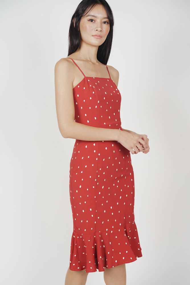 Gaura Ruffled Dress in Red Polka Dots