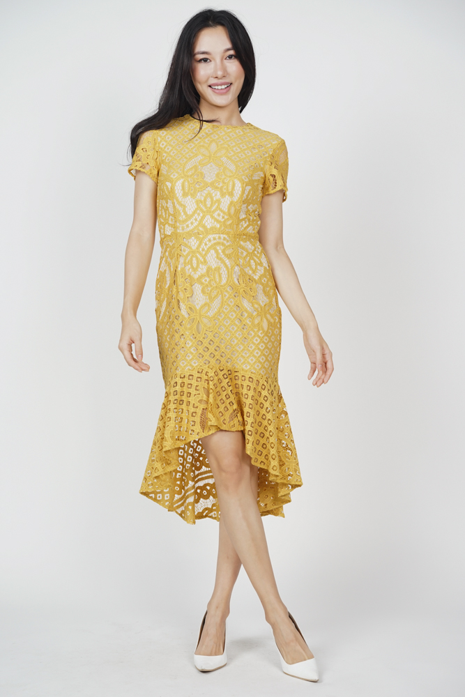 Asymmetric Lace Dress in Mustard