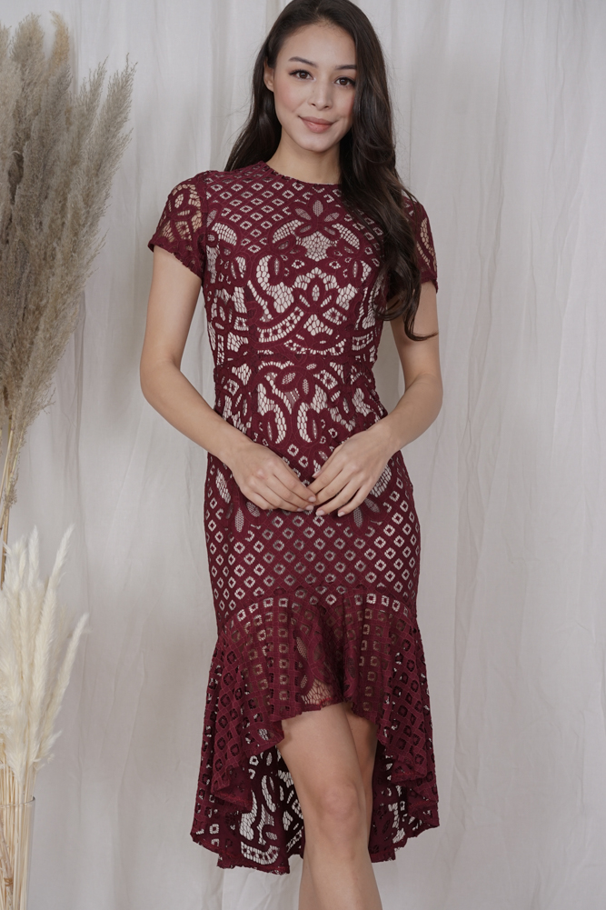 Asymmetric Lace Dress in Oxblood