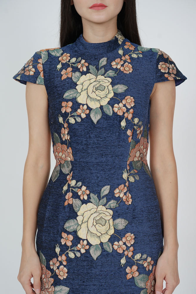 Jacquard Cheongsam Dress in Midnight Floral - Arriving Soon