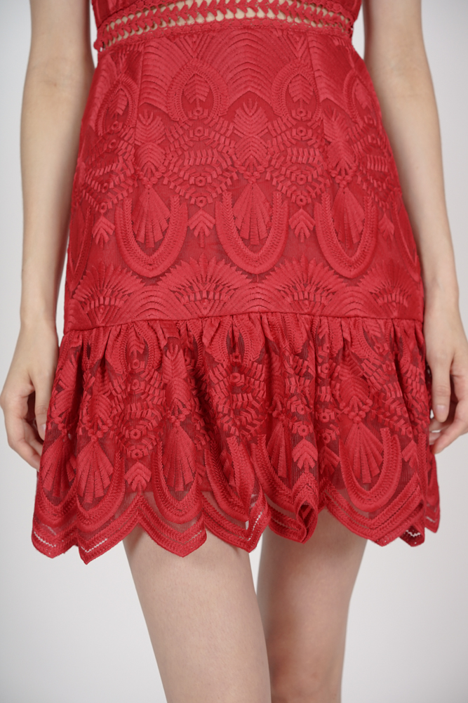 Halter Lace Dress in Red