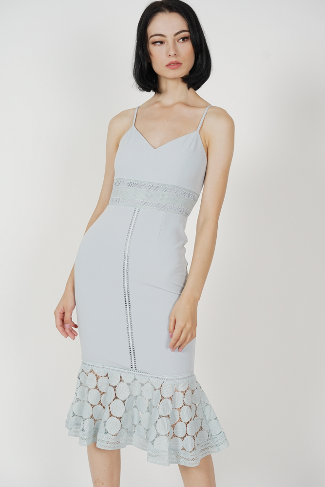 Bellari Lace Dress in Dusty Blue