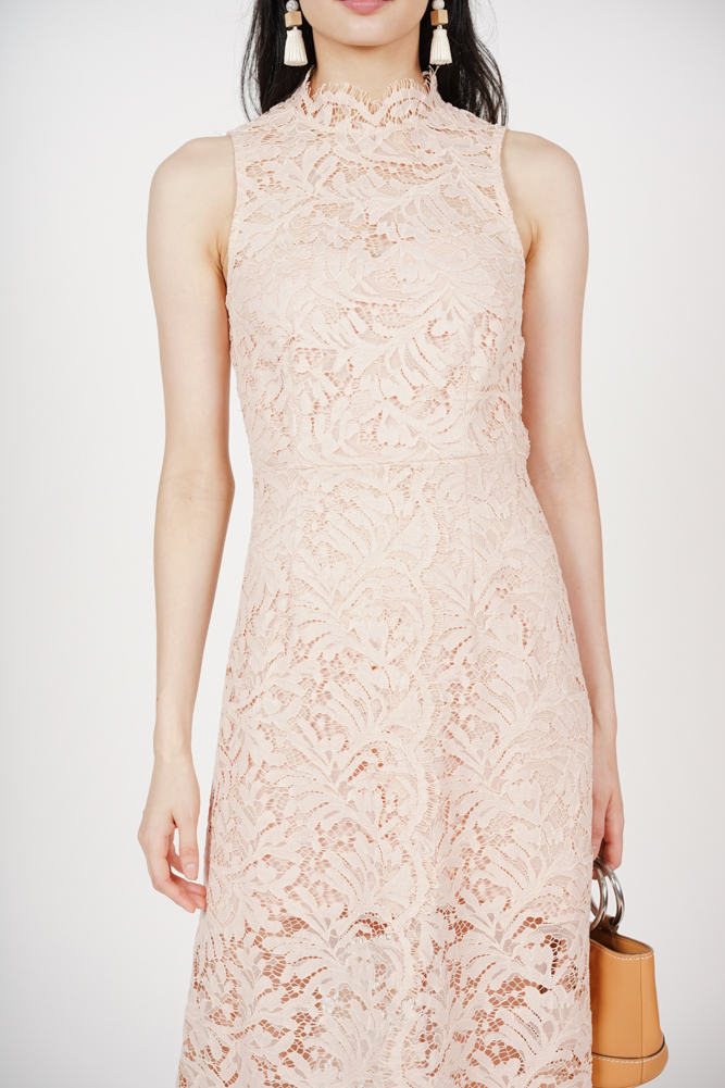 Open-Back Lace Dress in Nude Pink