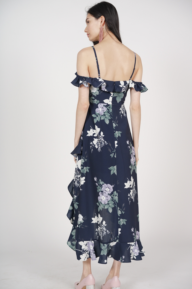 Asymmetrical Frilly Dress in Navy Cream Floral - Arriving Soon