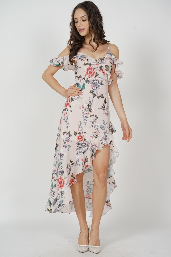 Asymmetrical Frilly Dress in Pink Floral