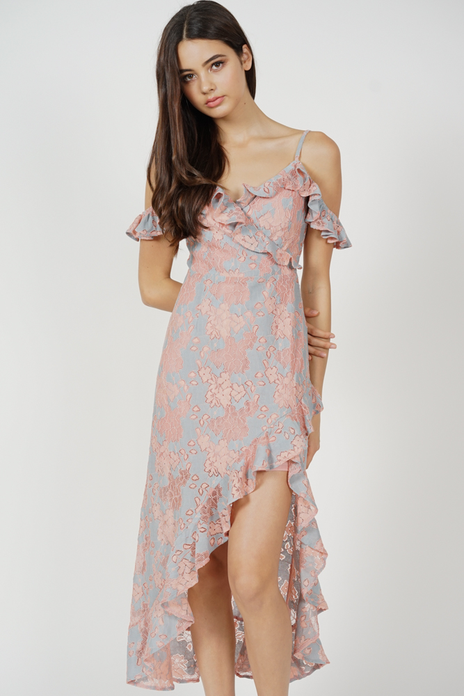Dexie Asymmetrical Frilly Dress in Pink Blue - Arriving Soon
