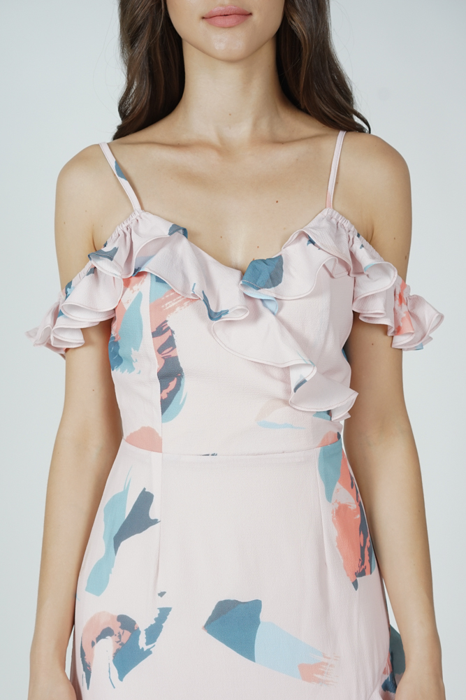 Asymmetrical Frilly Dress in Pink Brush - Arriving Soon
