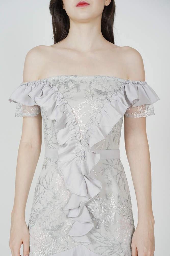 Frilly Flounce Dress in Grey