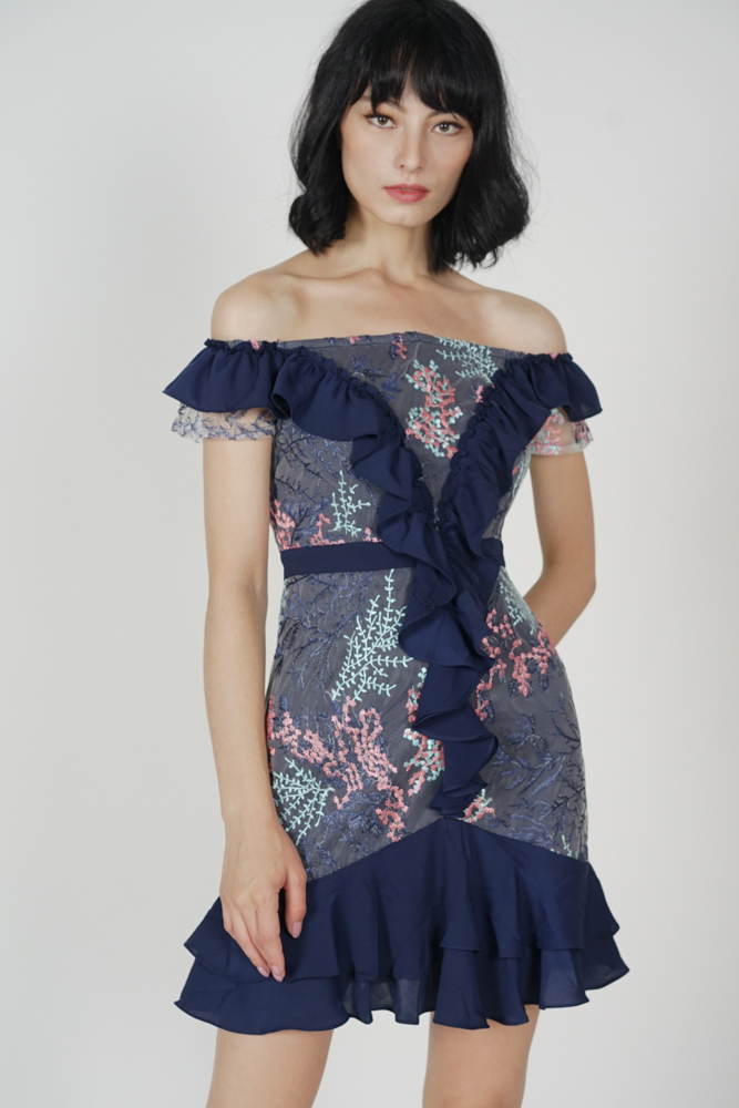 Frilly Flounce Dress in Midnight