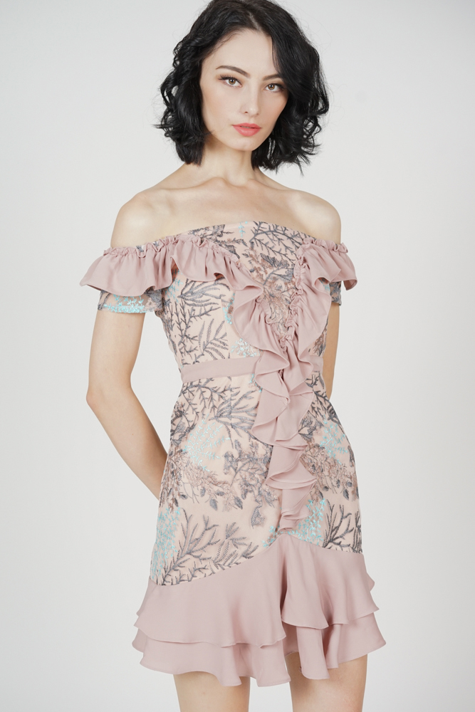 Frilly Flounce Dress in Pink