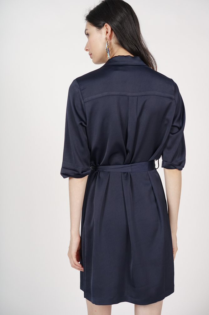 Wrap Shirt Dress in Navy