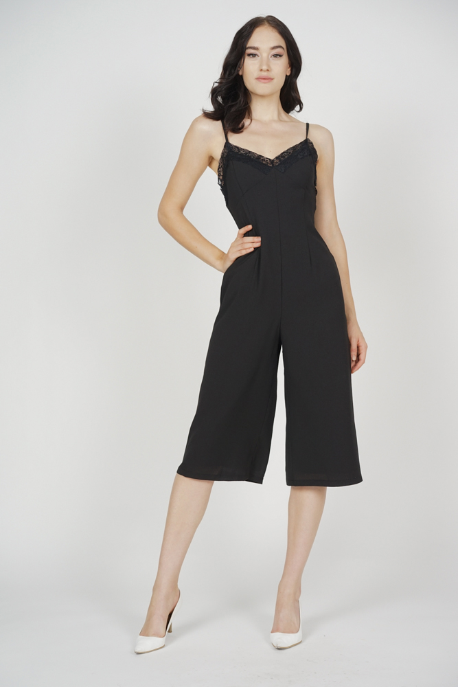 Lace-Trimmed Jumpsuit in Black
