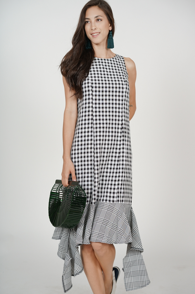 Kaia Ruffled-Hem Dress in Black Gingham