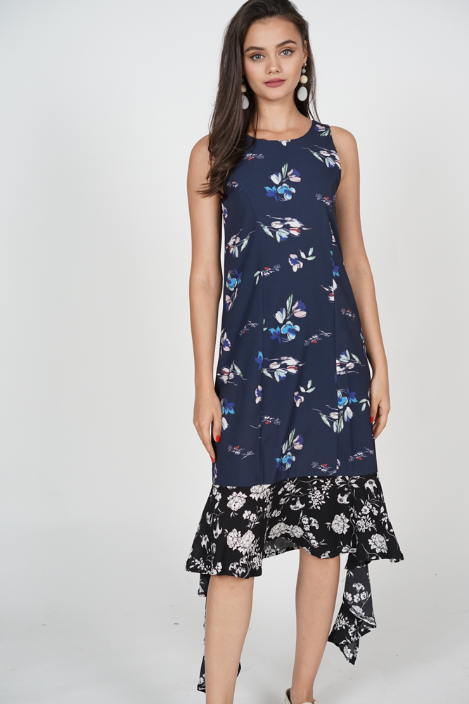 Kaia Ruffled-Hem Dress in Navy Floral