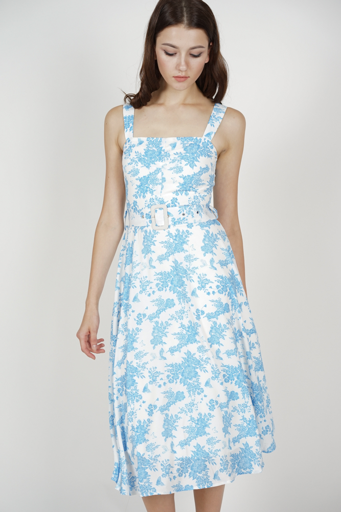 Flared Midi Dress in Blue Floral